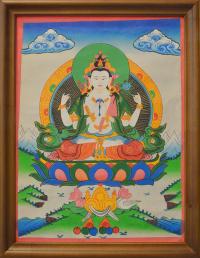"""Картина в рамке """"Авалокитешвара"""" (34 x 43 x 1 см)."""