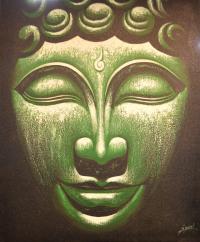 "Картина ""Лик Будды"" (зеленая) 51 x 61 x 2 см."