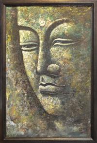"Картина в рамке ""Лик Будды"" (55 x 81 x 2 см)."