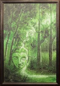 """Картина в рамке """"Будда в лесу"""" (55 x 81 x 2 см)."""