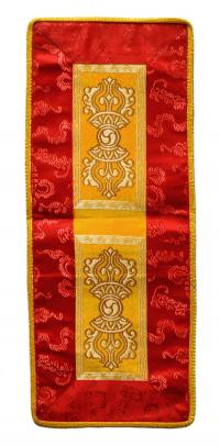 Купить Алтарное покрывало (оранжево-красное с ваджрами), ~18,5 x 46,5 см в интернет-магазине Dharma.ru