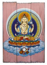 Изображение на досках Авалокитешвара (28 x 40 x 4 см).