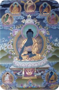 """Наклейка """"Будда Медицины"""" (№1) (5 x 7,5 см)."""