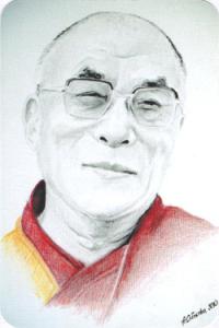 """Наклейка """"Далай-лама XIV"""" (№1) (5 x 7,5 см)."""
