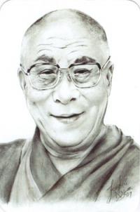 """Наклейка """"Далай-лама XIV"""" (№2) (5 x 7,5 см)."""