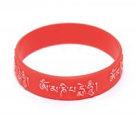 Купить Браслет с мантрой ОМ МАНИ ПАДМЕ ХУМ (красный с белой мантрой) в интернет-магазине Dharma.ru