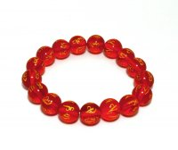 Четки-браслет на резинке с мантрой ОМ МАНИ ПАДМЕ ХУМ красные.