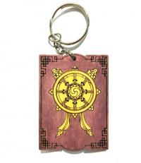 """Брелок с символом """"Колесо Дхармы"""" (красный)."""