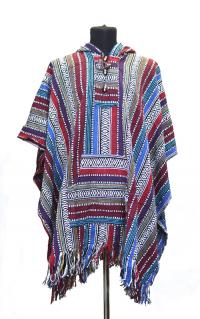 Купить Пончо (98 x 118 см) (Красное с фиолетовыми полосками) в интернет-магазине Dharma.ru