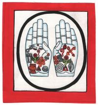 Изображение Руки Будды (красная рамка, белый фон, 13 х 12,5 см).