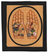 Изображение Руки Будды (черная рамка, бежевый фон, 13 х 12,5 см).