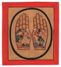 Изображение Руки Будды (красная рамка, бежевый фон, 13 х 12,5 см).