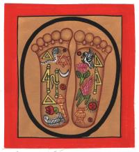 Изображение Стопы Будды (красная рамка, бежевый фон, 13 х 12,5 см).
