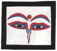 Изображение Глаза Будды (черная рамка, белый фон, 13 х 12,5 см).