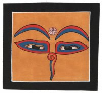Изображение Глаза Будды (черная рамка, желтый фон, 13 х 12,5 см).