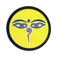 """Наклейка """"Глаза Будды"""", желтый фон, 11 см."""