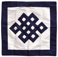 Наволочка с символом Бесконечного узла, 45 x 45 см, синяя.