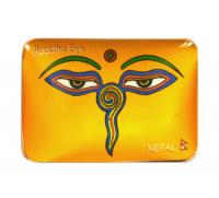 Магнит прямоугольный с Глазами Будды (желтый, 6,7 х 4,7 см).