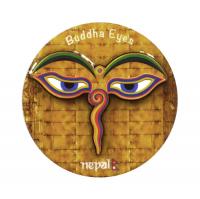 Магнит круглый с Глазами Будды (коричневый, 7 см).