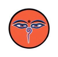 Купить Наклейка Глаза Будды, оранжевый фон, 6,2 см в интернет-магазине Dharma.ru