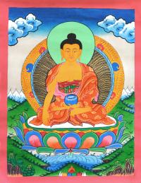 Купить Тханка рисованная Будда Шакьямуни на фоне гор (30,5 х 39,5 см) в интернет-магазине Dharma.ru