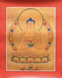 Тханка рисованная Будда Шакьямуни (28,5 х 36 см) (с использованием золота).