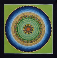 Картина Мандала с тибетским ОМ (зеленый фон, 32 х 33 см).