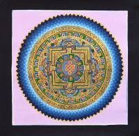 Картина Мандала с Бесконечным узлом (фиолетовый фон, 32,5 х 33,5 см).