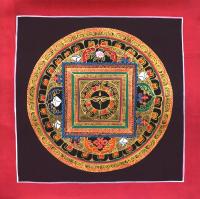 Картина Мандала с Глазами Будды (коричневый фон, 25,8 х 25,8 см).