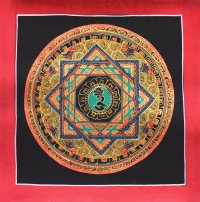 Картина Мандала с ХУМ (черный фон, 25,3 х 25,6 см).