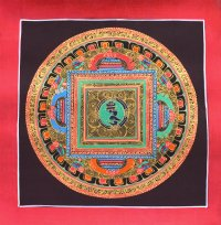 Картина Мандала с ХУМ (коричневый фон, 25,1 х 25,6 см).