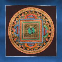 Картина Мандала с ХУМ (синяя рамка, коричневый фон, 25,8 х 26 см).