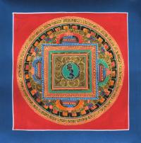 Картина Мандала с ХУМ (синяя рамка, красный фон, 25,6 х 25,8 см).