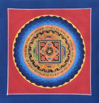 Картина Мандала с тибетским ОМ (синяя рамка, красный фон, 24,8 х 25,5 см).