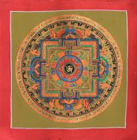Картина Мандала с тибетским ОМ (красная рамка, бежевый фон, 26,8 х 27,2 см).