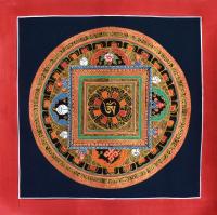 Картина Мандала с тибетским ОМ (красная рамка, черный фон, 25,6 х 25,7 см).