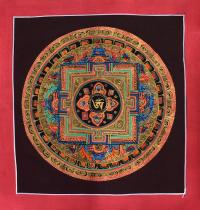 Картина Мандала с тибетским ОМ в лотосе на черном фоне (25,3 х 26,5 см).