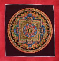 Картина Мандала с тибетским ОМ в лотосе на синем фоне (25,6 х 26,5 см).