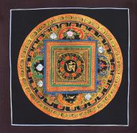 Картина Мандала с тибетским ОМ (коричневая рамка, черный фон, 24,3 х 24,8 см).