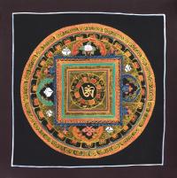 Картина Мандала с тибетским ОМ (коричневая рамка, черный фон, 24,8 х 25 см).
