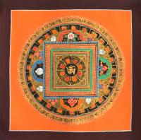 Купить Картина Мандала с тибетским ОМ (коричневая рамка, оранжевый фон, 24,7 х 25 см) в интернет-магазине Dharma.ru