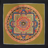 Картина Мандала с тибетским ОМ (черная рамка, золотистый фон, 25,7 х 25,7 см).