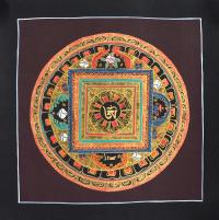 Картина Мандала с тибетским ОМ (черная рамка, коричневый фон, 25,6 х 26,1 см).