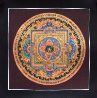 Картина Мандала с тибетским ОМ (черная рамка, коричневый фон, 25,5 х 25,9 см).