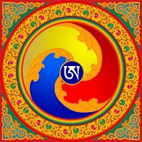"""Магнит """"Ганчи с тибетской буквой А"""" (9,5 x 9,5 см)."""