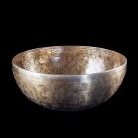 Поющая чаша №8, улучшенный сплав, с гравировкой Дзамбала (26 x 11 см).