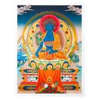 Тханка печатная на холсте Будда Медицины (с красным нимбом) (30,9 х 42,5 см).