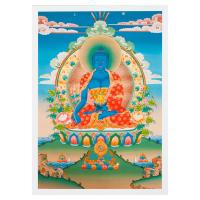 Тханка печатная на холсте Будда Медицины (с желтовато-зеленым нимбом) (29,3 х 42 см).