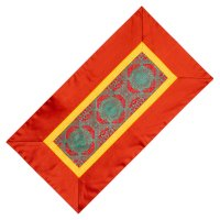 Алтарное покрывало Красное и зеленое с коричневой окантовкой из натуральной вискозы, 84 x 45 см.