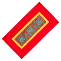 Алтарное покрывало Красное и зеленое с алой окантовкой из натуральной вискозы, 84 x 45 см.